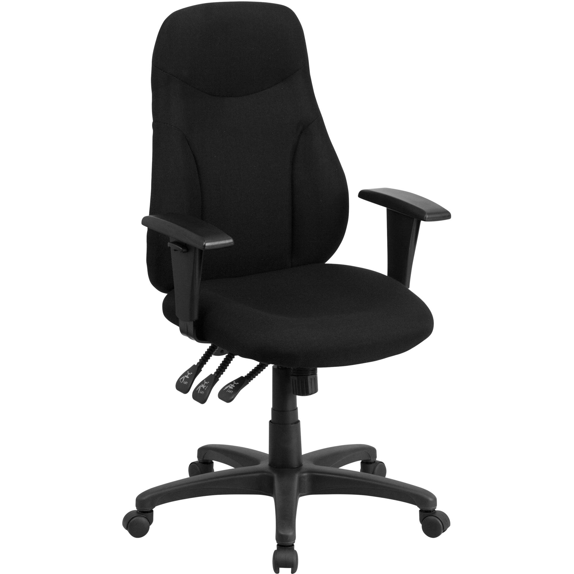 Flash Furniture High Back Black Fabric Multi-Functional Ergonomic Swivel Task Chair with