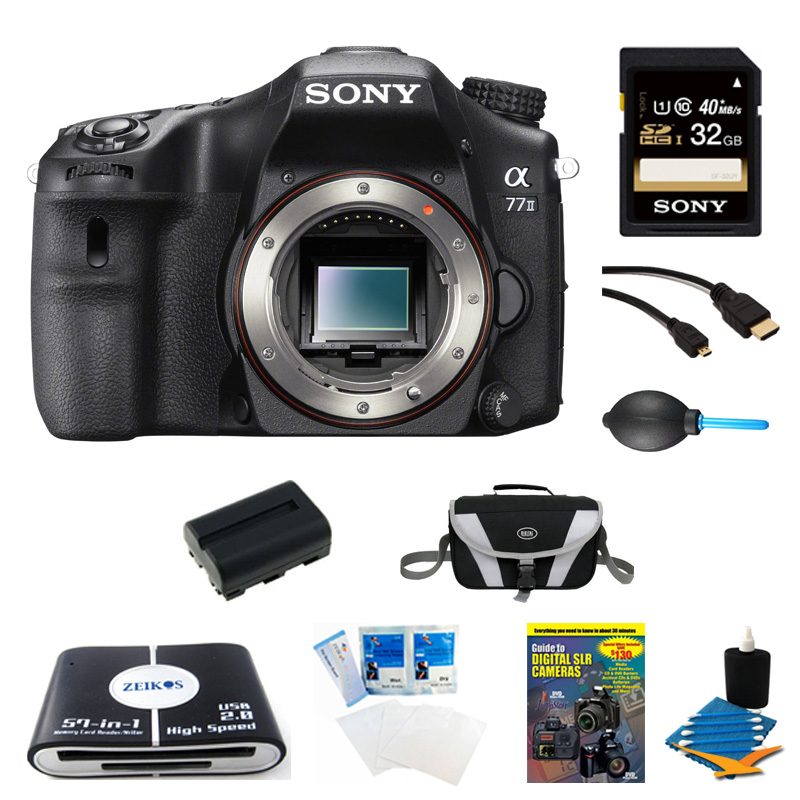 Sony A77II ILC-A77M2 A77M2 a77 II Digital SLR Camera - Body Only Bundle Includes camera, 32GB SDHC Memory Card, NP-FM500 Camera Battery, Compact Bag, 57-in-1 Memory Card Reader, Photography DVD