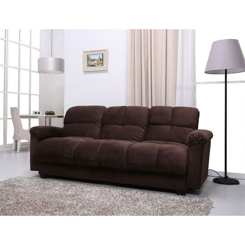 Gold Sparrow Phila Fabric Storage Convertible Sofa in Chocolate