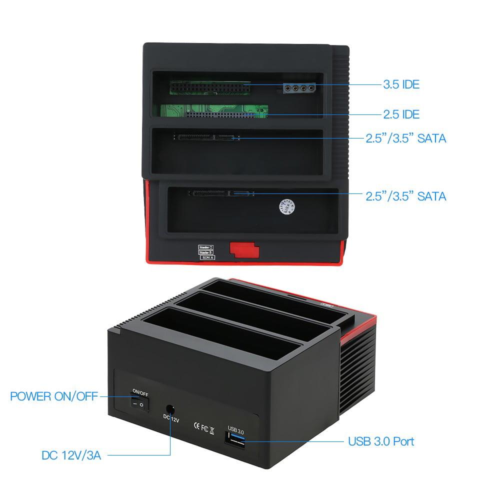 """USB 3.0 3 Slots 2.5/""""//3.5/"""" SATA IDE HDD Hard Drive Docking Clone Reader USB HUB"""