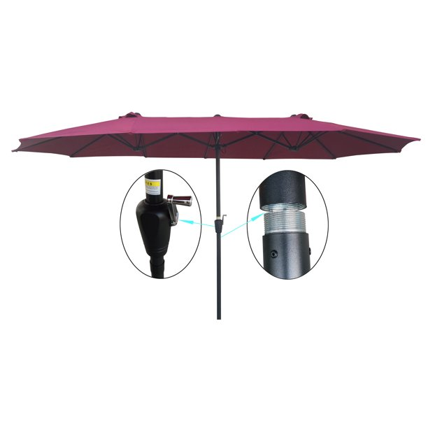 15Ft Double-Sided Market Table Outdoor Garden Umbrella with Crank and Wind Vents,...
