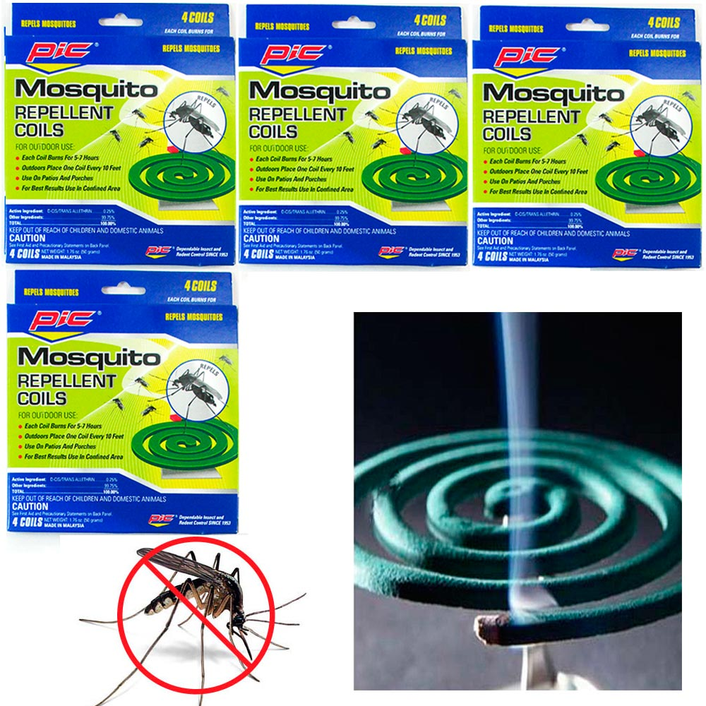 4 Pks Mosquito Repellent 16 Coils Outdoor Use Skin Protection Insect Bite Sting