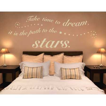 Take Time to Dream it is the Path to the Stars Wall Decal Wall Sticker Vinyl Wall Art Home Decor Wall Mural quotes and sayings 1362 Orange 59in x 22