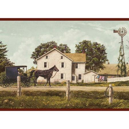 878928 Amish Buggy Farm Wallpaper Border (Farm Border)