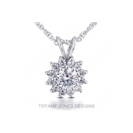 1.18 CT E-I1 Exc Round Natural Diamonds 950 PL. Prong Flower Design Pendant (Tiffany Jewellery Designs)