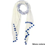 Saachi Women's Stripes and Tassels Scarf (India) Ivory Beige