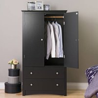 Prepac Sonoma 2-Door Armoire, Black