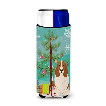 Merry Christmas Tree Basset Hound Michelob Ultra Hugger for Slim