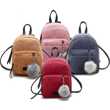 Women Corduroy Mini Backpack School Bags Girls Small Travel Handbag Shoulder Bag
