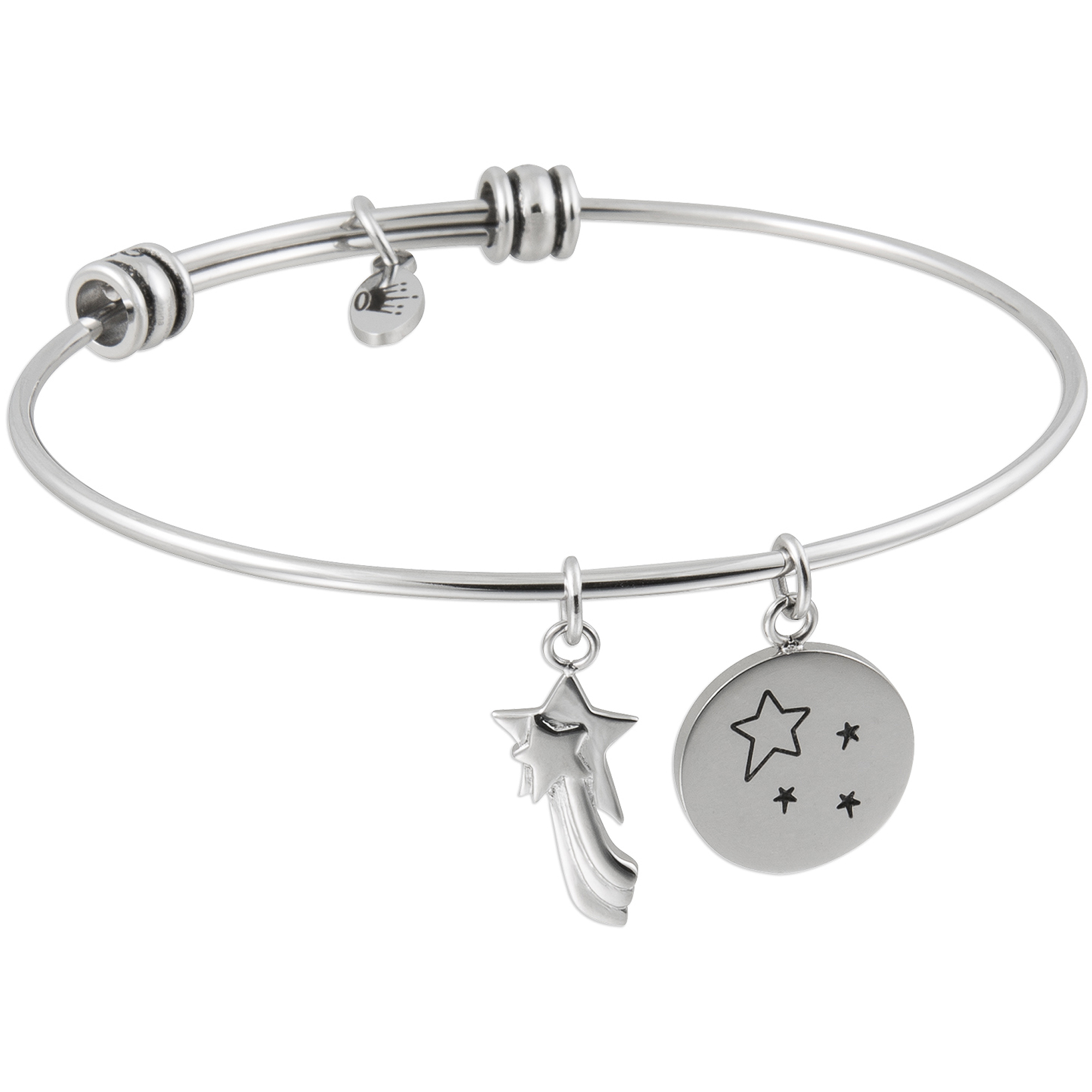 "Connections from Hallmark Stainless Steel ""It all Starts with a Dream"" and Shooting Star Multi-Charm Wire Bangle, 7.75"