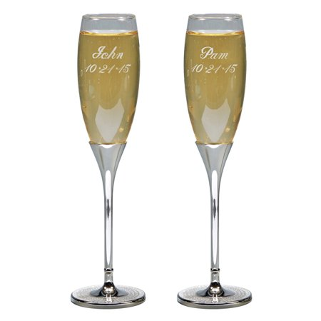 Personalized Glitter Galore Nickel Plated Wedding Stemmed Toasting