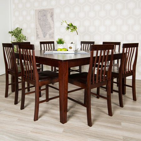 square dining room table for 4 | WE Furniture 60-inch Cappuccino Square Wood Dining Table ...