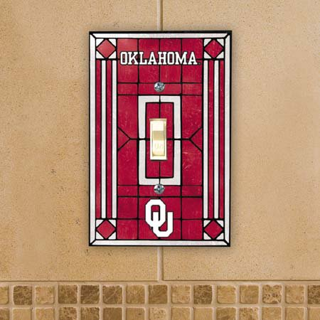 Oklahoma Sooners Official NCAA Art Glass Light Switch Cover by Memory Company