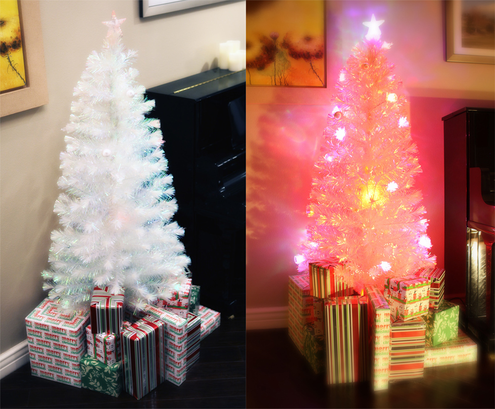 7 FT PRE-LIT MULTI COLOR LED & FIBER OPTIC CHRISTMAS TREE - BRIGHT ...