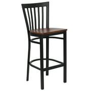 Flash Furniture HERCULES Series Black School House Back Metal Restaurant Barstool, Wood Seat, Multiple Colors