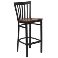 "Metal School House Bar Stool 29"", Black and Cherry"