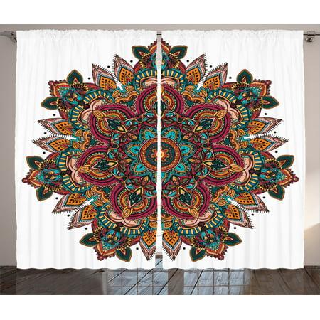 Mandala decor curtains 2 panels set ethnic mandala design - Curtain ideas for living room india ...