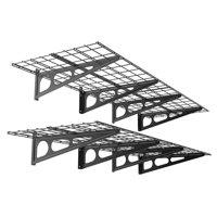 FLEXIMOUNTS 2-Pack 2x6ft 24-inch-by-72-inch Wall Shelf Garage Storage Rack Floating Shelves, Black