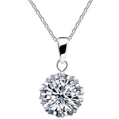 Designer Inspired CZ Silver-Tone Necklace, 18