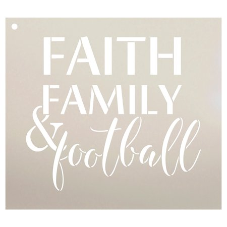 Football Stencil Marking - Faith Family and Football Stencil by StudioR12 | Reusable Mylar Template | Fall Sports style - Use to Paint Wood Signs - Wall Art Pallets - T-Shirts or Pillows - DIY Home Decor - SELECT SIZE