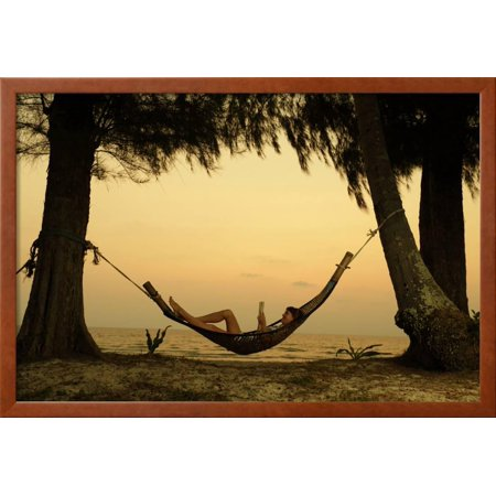 Young Lady Reading the Book in the Hammock on Tropical Beach at ...