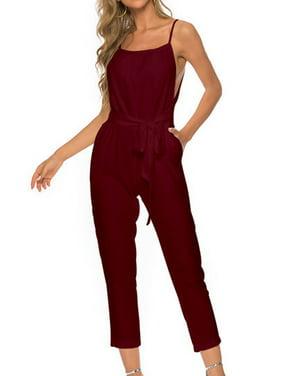Women Solid Color Square Neck Sling Side Split Tie Waist Jumpsuit