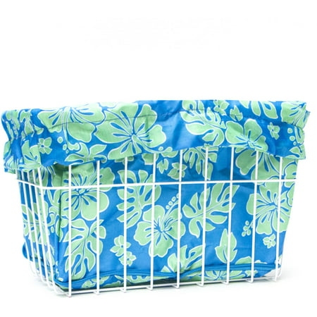 Blue/Green Hibiscus Bicycle Basket Liner
