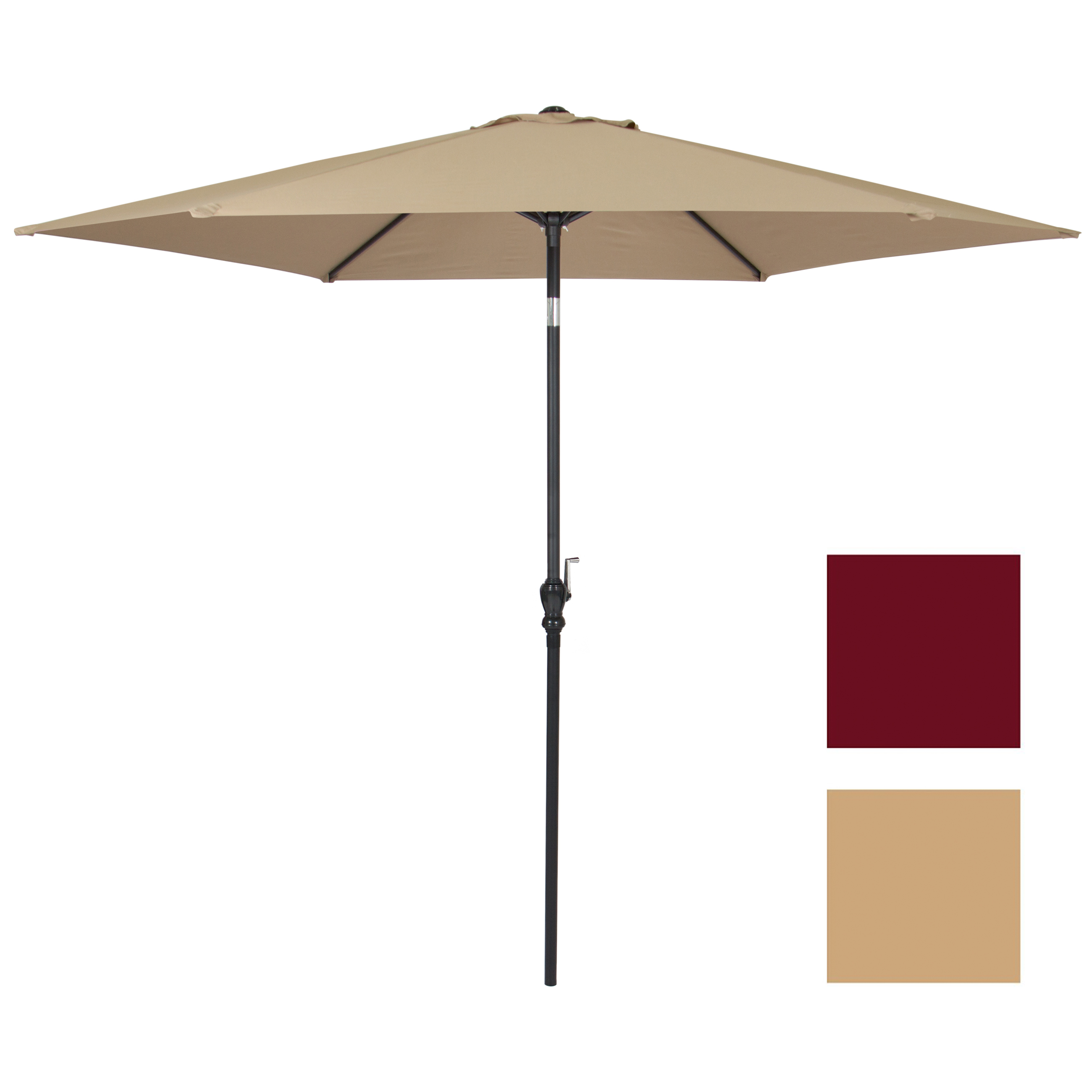 10 FT Steel Market Outdoor Patio Umbrella W/ Crank, Tilt Push Button