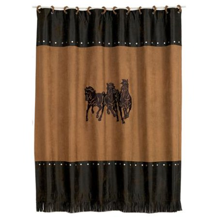 Hiend Accents Embroidered 3 Horse Shower Curtain