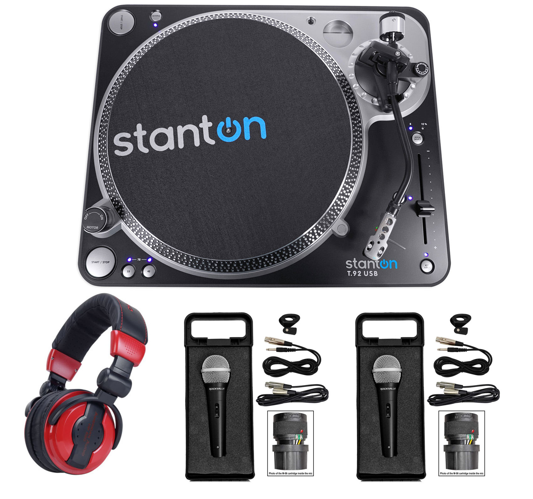 Stanton T.92 M2 USB Direct-Drive S-arm USB DJ Turntable+Headphones+2 Microphones