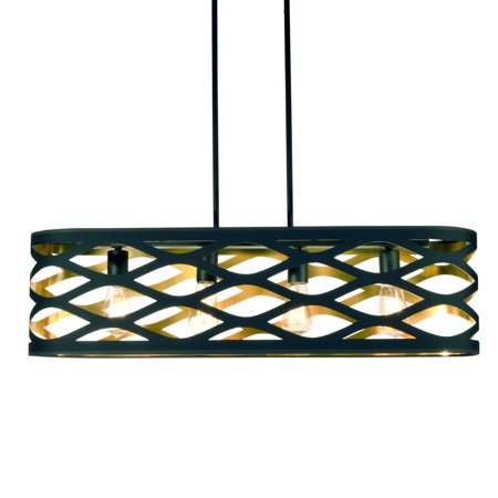 Pendants 4 Light Bulb Fixture With Black and Gold Finish Fabric Material 33