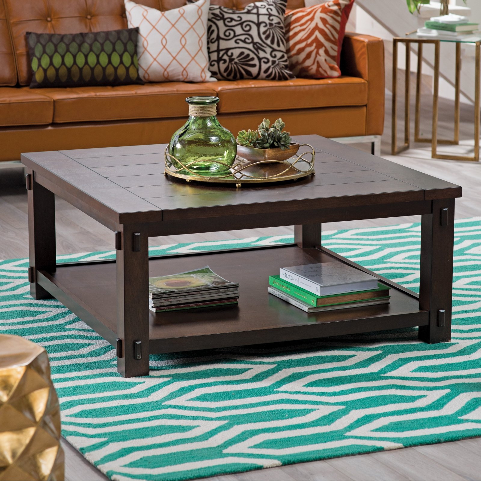Details About Coffee Table Modern Home Living Room Espresso Storage Square Wood Furniture New