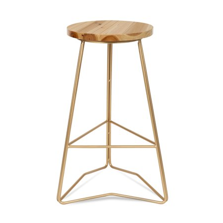 Cool Kate And Laurel Godwin Backless Modern 25 Inch Counter Height Bar Stool Gold Metal Base With Natural Wood Finish Seat Pabps2019 Chair Design Images Pabps2019Com