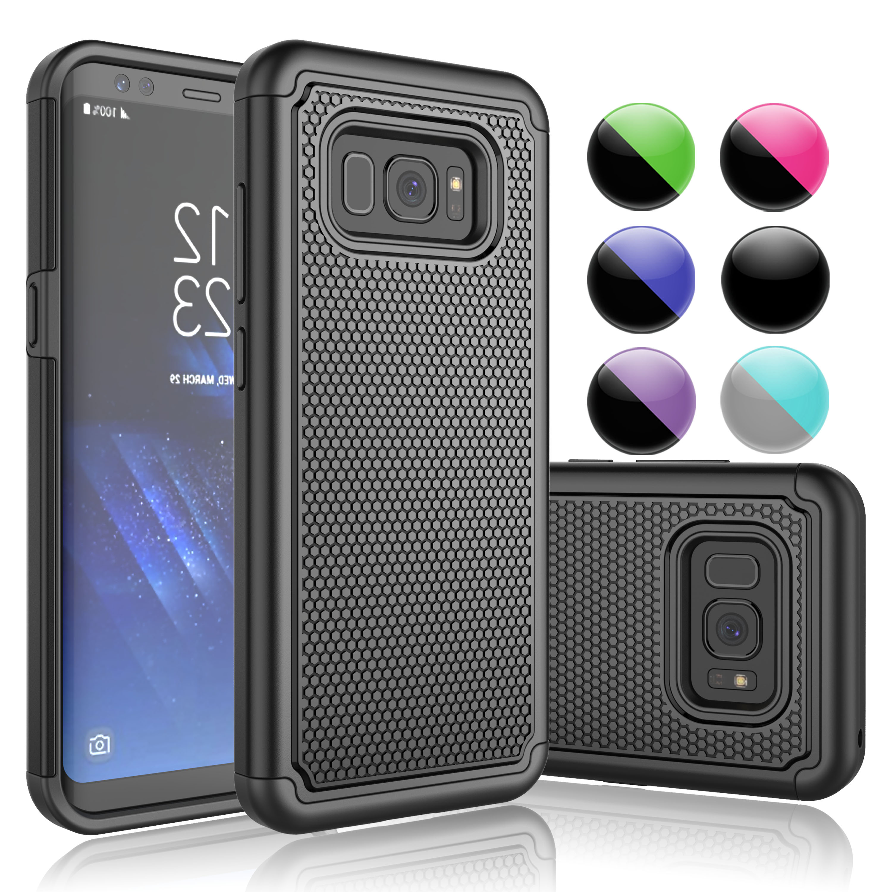 Samsung Galaxy S8 Case, Galaxy S8 Phone Case, Njjex Shock Absorbing Double Layered Plastic Impact Defender Hard Case Cover Shell For Samsung Galaxy S8 (2017)-Purple
