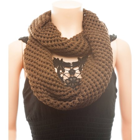 Celik Women's Infiniti Scarves Knitted and Braided Pattern In Solid Color