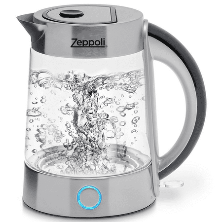 Zeppoli Electric Kettle (BPA Free) - Fast Boiling Glass Tea Kettle (1.7L) Cordless, Stainless Steel Finish Hot Water Kettle Glass Tea Kettle, Tea Pot Hot Water Dispenser ()