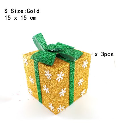 Pack of 3 Lighted Christmas Snowflakes Gift Wrap Boxes Yard Art Holiday Decoration (NOT Included LED light), Gold, S
