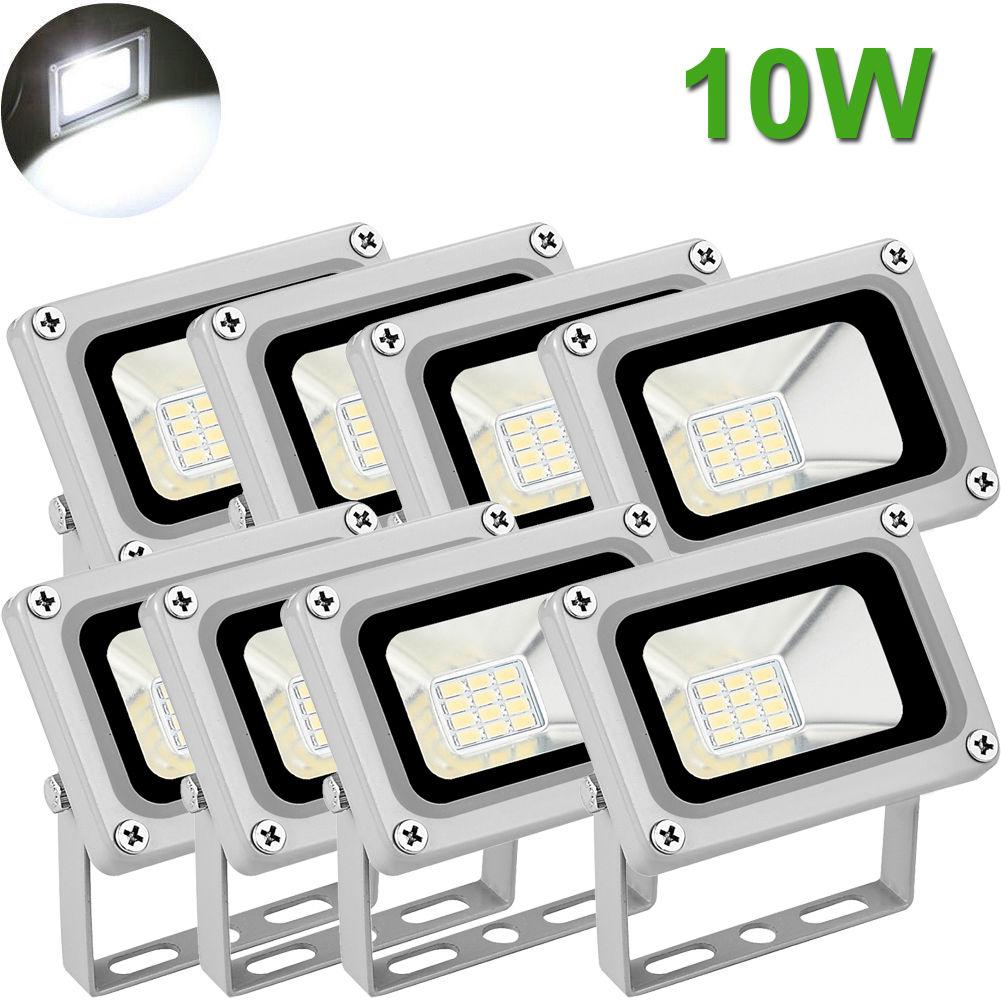 8X 10W LED Flood Light Outdoor Garden Landscape Lamp Waterproof Cool White 12V