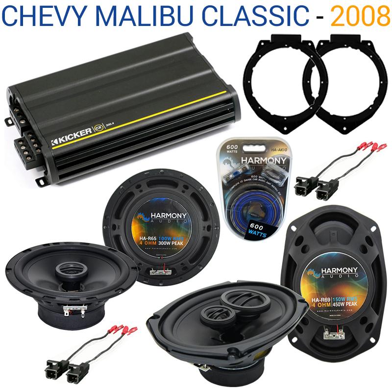 Chevy Malibu Classic 2008 OEM Speaker Upgrade Harmony R65 R69 & CX300.4 Amp - Factory Certified Refurbished