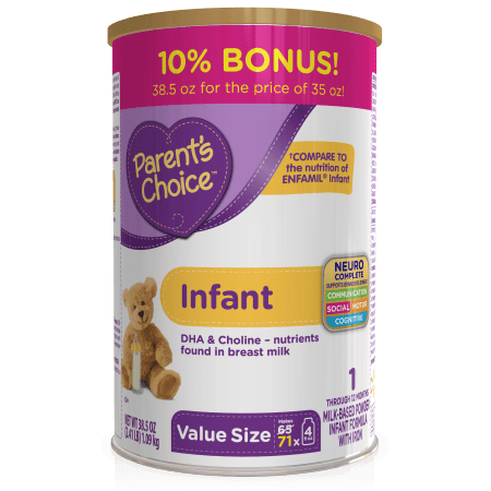 Parents Choice Non Gmo Premium Infant Formula Economy Pack  4 Tubs Of 35Oz Each  140Oz