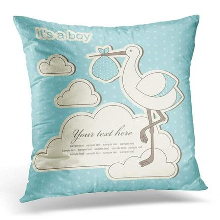 ECCOT Stork Blue Birth Baby Boy Announcement Born Drawing Pillowcase Pillow Cover Cushion Case 16x16 inch