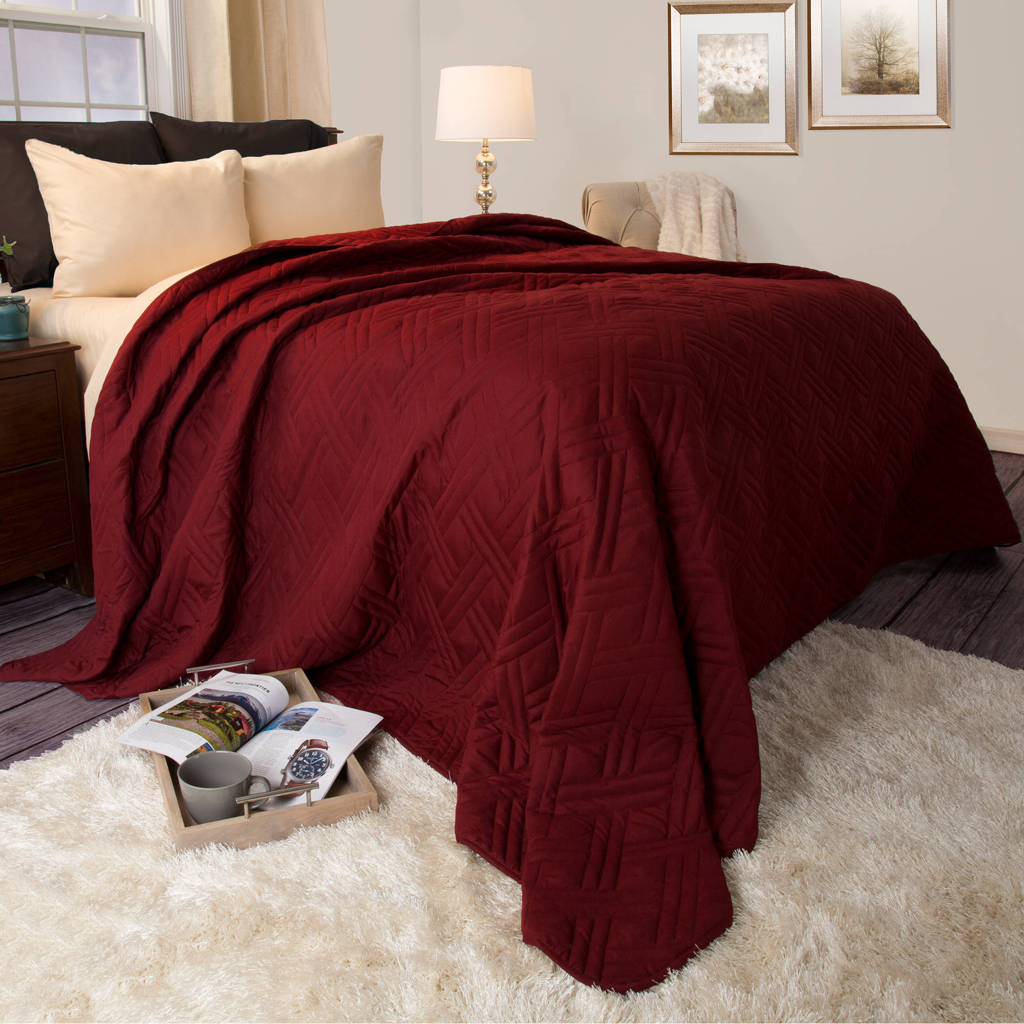 Somerset Home Solid Color Bed Quilt, King, Burgundy by Trademark Global LLC