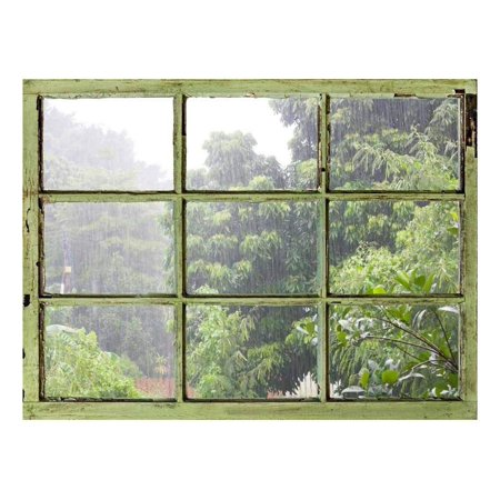 Window View Wall Mural It s Raining Heavily Outside Vintage Style Wall