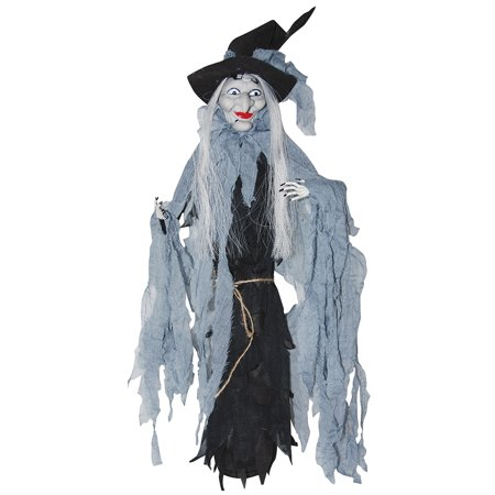 Shaking Animated Witch with Cloak Battery Operated Sounds Moves Halloween Prop - Witch Prop