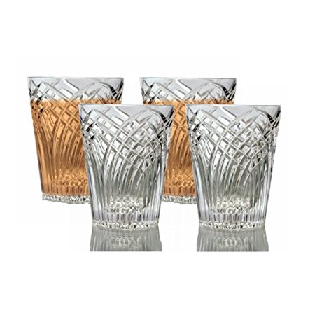 - GAC Mouth Blown Set of 4 Stemless Wine Glasses, Double Old Fashion Crystal Drinking Glasses, High Class Crystal Glasses