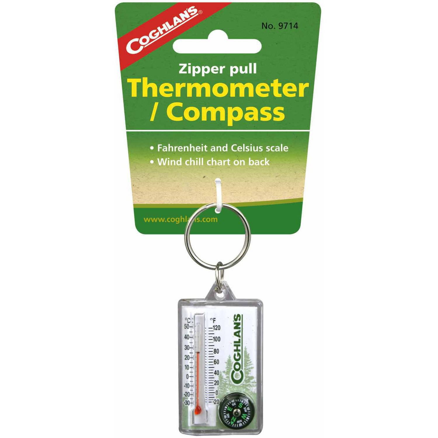 Coghlan's Zipper Pull Thermometer with Compass by Generic