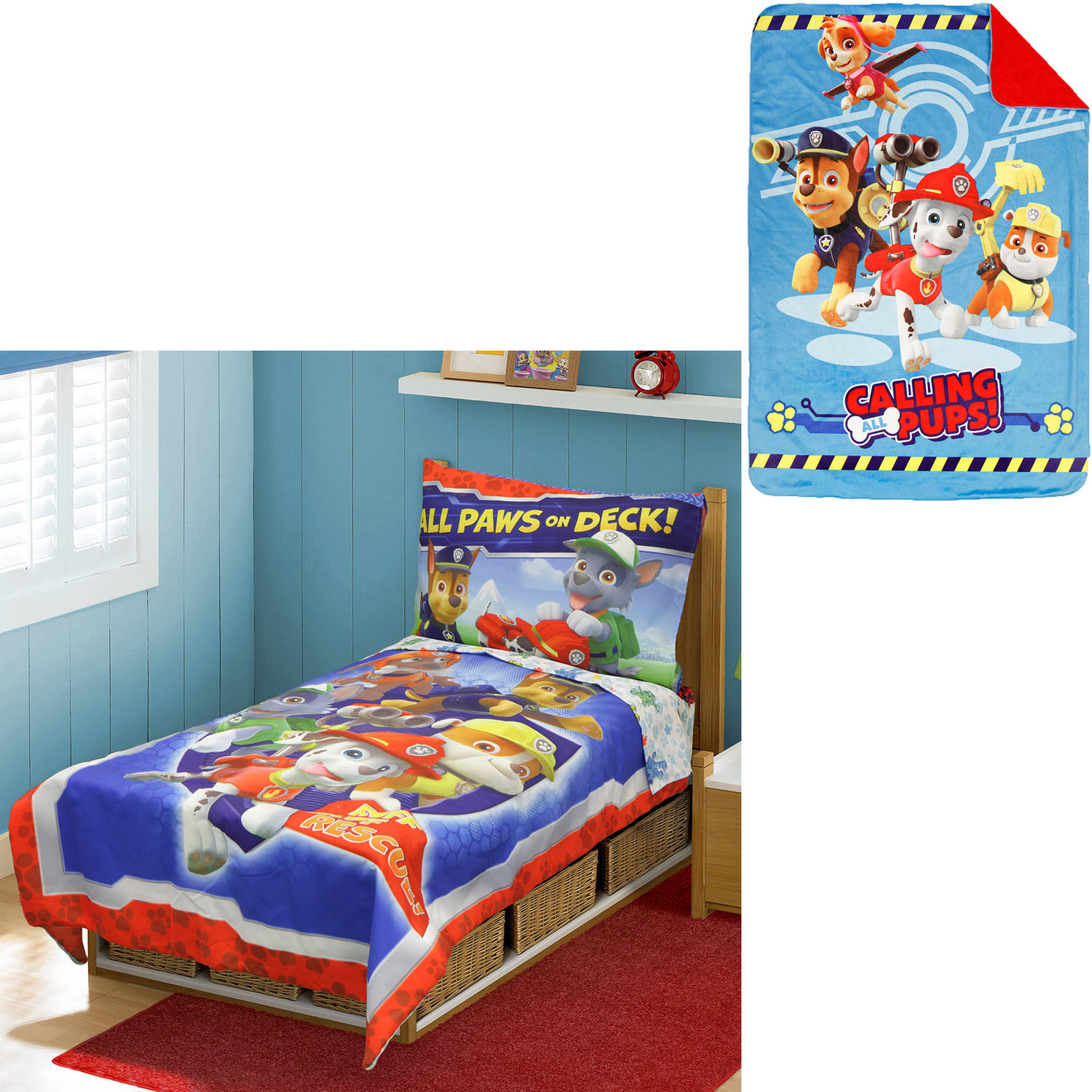 nickelodeon paw patrol toddler bedding set with bonus blanket walmartcom