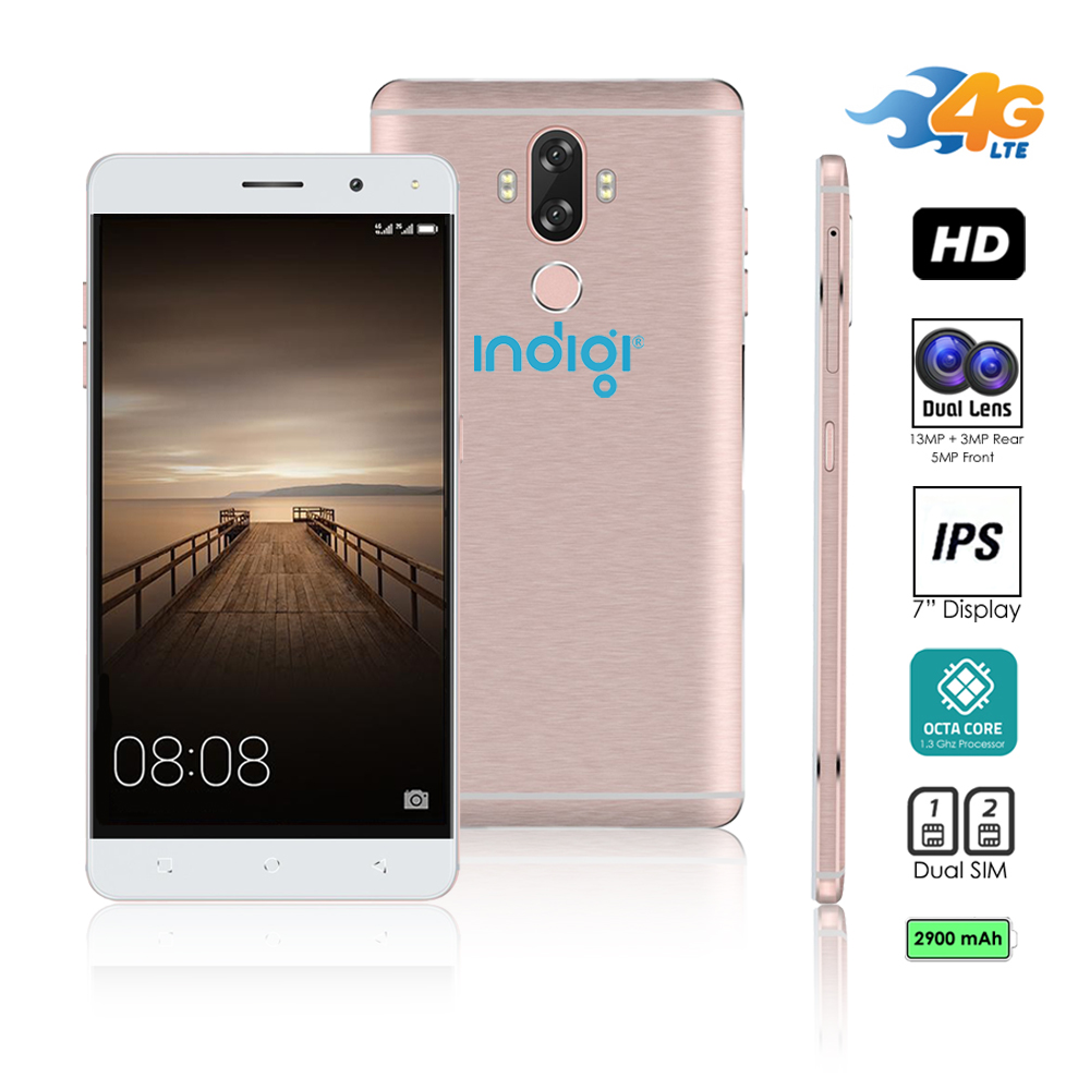 Indigi® Unlocked 4G LTE 6-inch Android 7.0 Octa-Core 1.3GHz SmartPhone (Fingerprint + 2SIM Slots + Bluetooth) Rose Gold