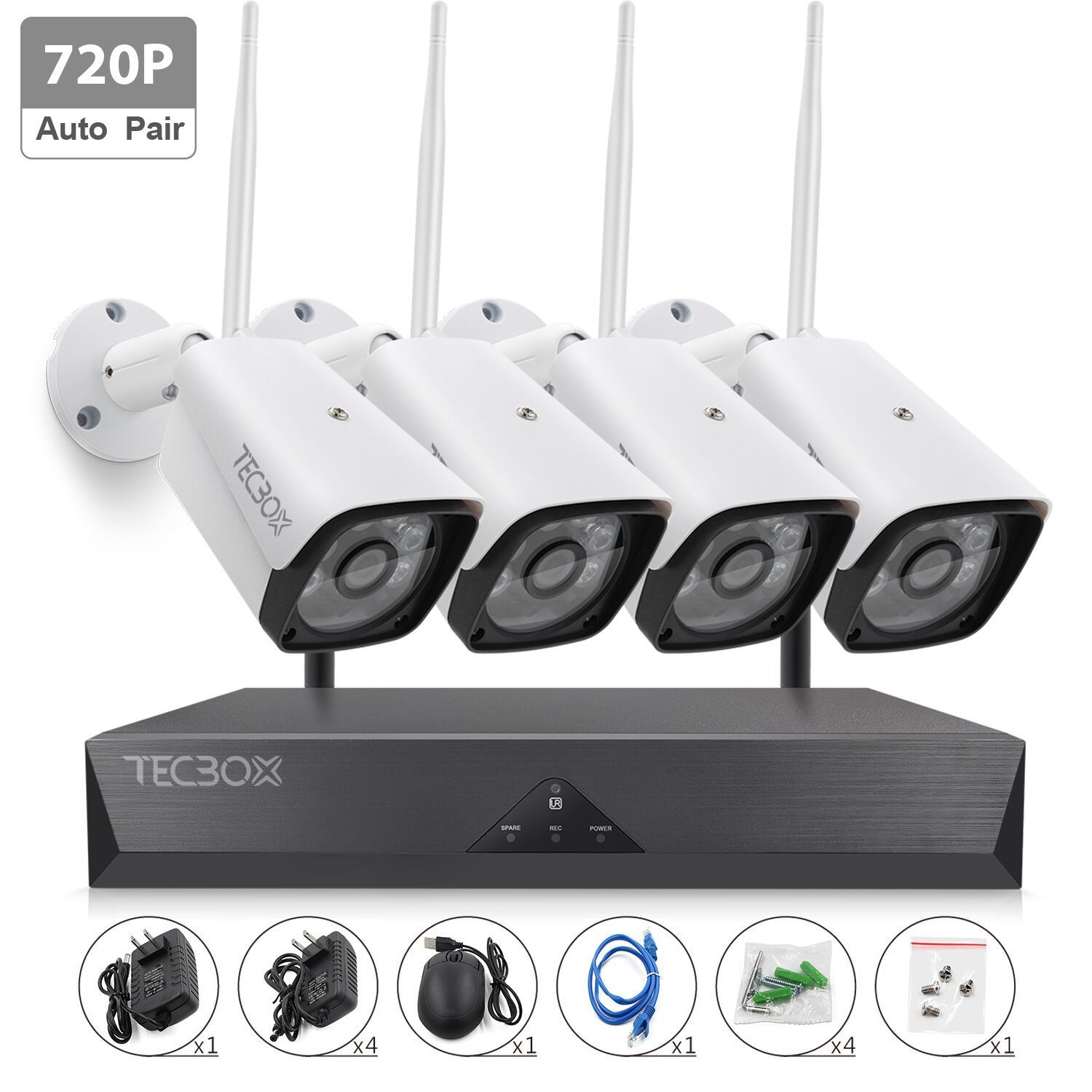TECBOX 4CH Auto Pair Wireless Security Camera System 720P HDMI NVR, No Hard Drive, 4 x 720P HD Indoor/Outdoor Weatherproof Night Vision Wireless IP Cameras,View Remotely Wifi Security Camera