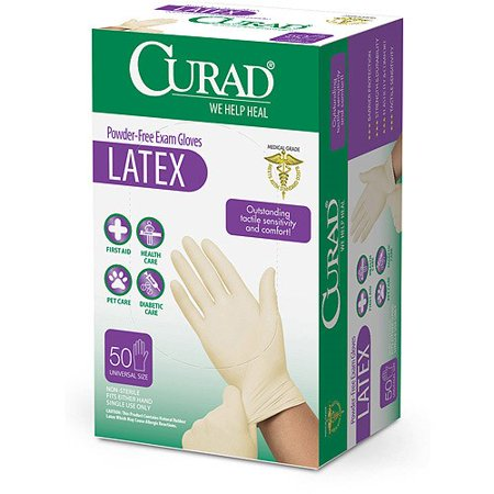 Curad Powder-Free Latex Gloves, 50 Ct